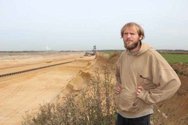 Activist Florian Hurtig in Duren, North-Rhine Westphalia, photo Kari Lydersen