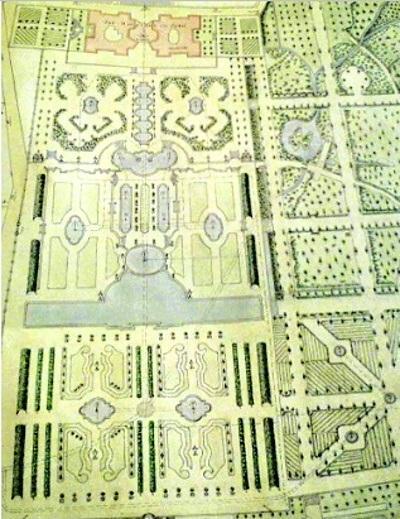 Půdorys zahrad duchcovského zámku