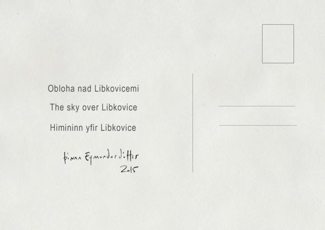 Þórunn Eymundardóttir, The Sky Over Libkovice. Postcard multiple, back side, 2015.
