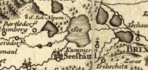 Mapa okolí Mostu z Balbínovy knihy