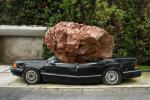 Jimi DUrham, Still life with Spirit and Xitle, 2007, site-specific installation, Basalt stone, 1992 Chrysler automobile Spirit, acrylic paint